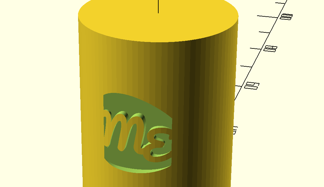 Screenshot of the logo stamped on the side of a small cylinder