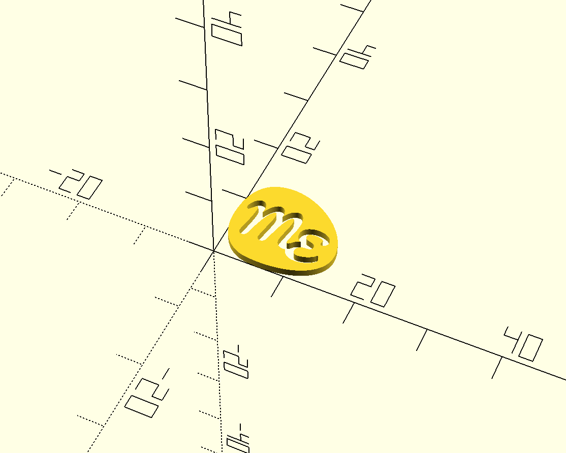 Screenshot of the solid logo object in OpenSCAD