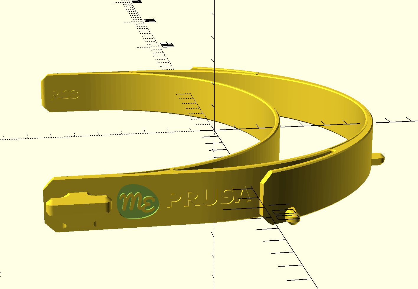 Screenshot of the object stamped with the logo in OpenSCAD