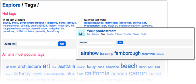 Tag clouds on Flickr