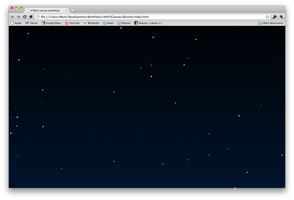 HTML5 canvas starfield